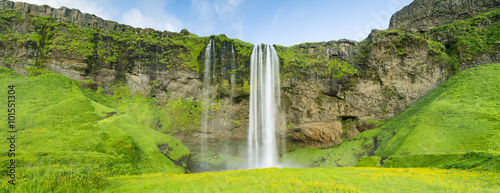 panoramic view to waterfall in Iceland