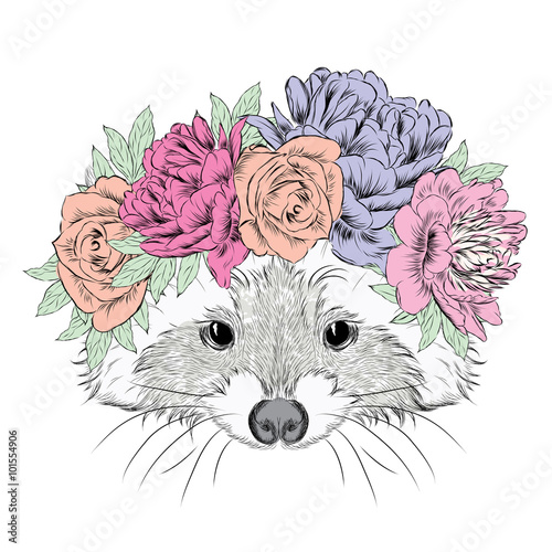 Raccoon in a wreath. Cute raccoon vector. Print. Flowers. - 101554906
