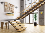 Modern interior with staircase 3d rendering