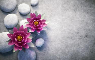 2 Lotusblüten mit Steinen