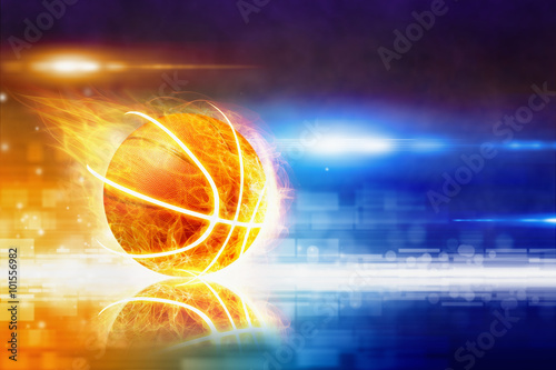 Poster, Tablou Hot burning basketball
