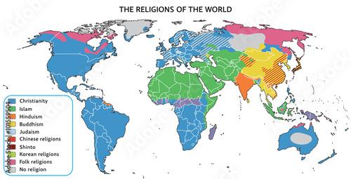 Fototapeta Religions of the world on map. Fully editable vector graphics.