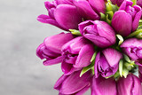 Purple tulip bouquet on the gray background.