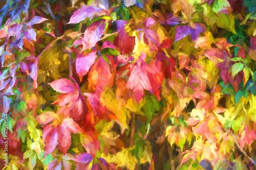 Obraz Digital structure of painting. Painted autumn leaves.