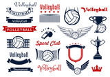 Volleyball game sports icons and symbols
