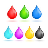 Glossy Drops CMYK and RGB. Vector
