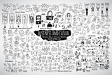 Fototapety Big bundle business casual doodles icons and objects.