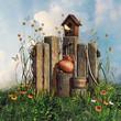drewniany płot z domkiem dla ptaków, kwiatami i motylami