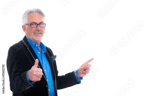 Poster rntner zeigt daumen und mit finger auf tafel