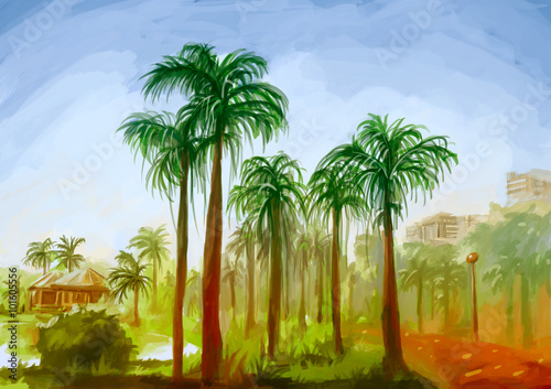 illustration digital painting nature park landscape