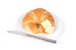 ������, ������: Croissant with Butter on White Background � A freshly baked croissant on a white plate White background