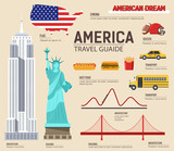 Fototapety Country USA travel vacation guide of goods, places and features. Set of architecture, foods, sport, items, nature background concept. Infographics template design for web and mobile. On flat style