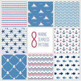 Sea seamless patterns, nautical design, marine elements - 101611737