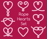 Set of rope hearts decorative knots - 101616367