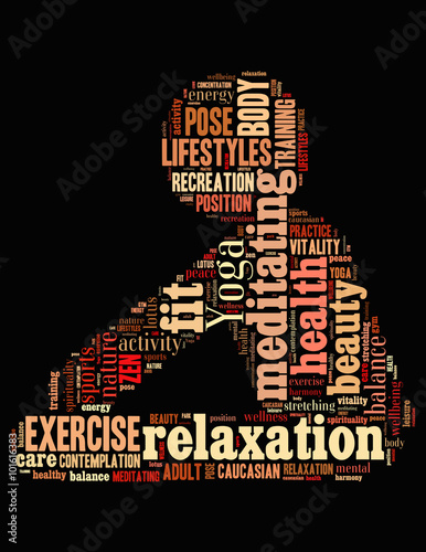 Fototapeta Yoga Exercise, word cloud concept 2