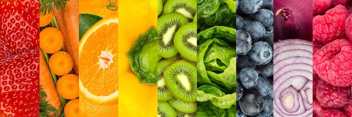 Kolaż kolorowych owoców i warzyw