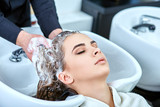 Fototapety shampoo for hair, beauty salon, hair wash