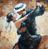 Fototapety tango dancers digital painting, tango dancers