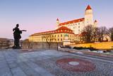 Bratislava castle on a winter evening, Slovakia.