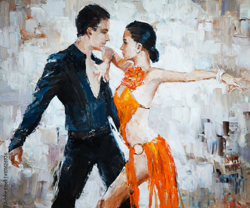 Naklejka tango dancers digital painting, tango dancers