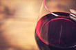 Macro of a glass of wine with shallow focus on the glass lip