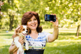 Woman and dog selfie