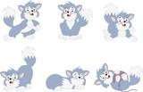 Cartoon blue kitten. Cute playful cat.