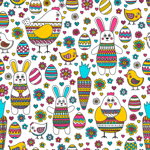 Naklejka Easter pattern. Seamless easter pattern with doodle elements. Bunny, eggs, hen, chicken, carrot with hand drawn doodle ornament. Cute background for Easter design.