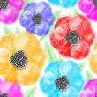 Seamless colorful poppy flowers wallpaper pattern. Vector background.