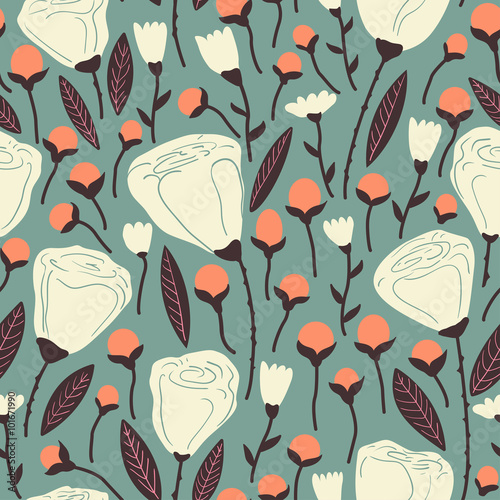 Elegant seamless pattern with white flowers. - 101671990