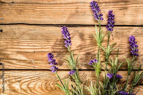 Naklejka Lavender on wooden boards. Vintage retro style background