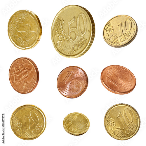 Poster Euro Coins Collection Isolated