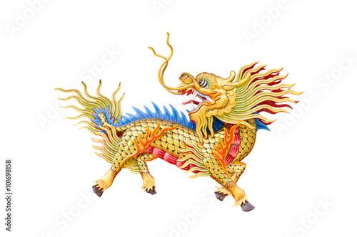dragon-head unicorn on white background. Poster