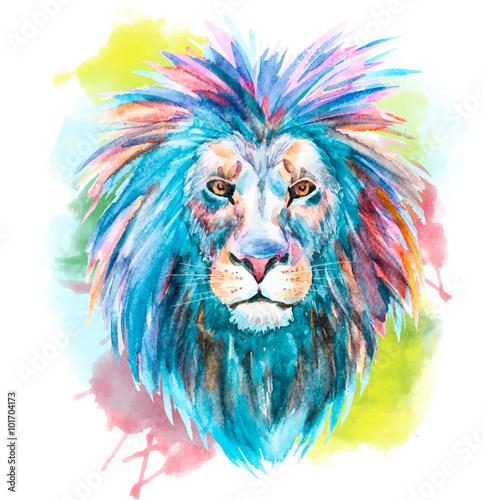 Watercolor vector lion - 101704173
