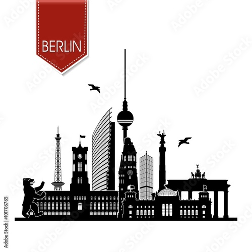 berlin ansicht skyline mit rotem maker funkturm berliner b r rotes rathaus fernsehturm. Black Bedroom Furniture Sets. Home Design Ideas