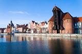 Cityscape of Gdansk over  the Motlawa river, Poland.