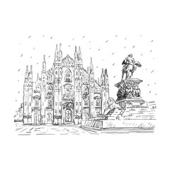 Milan Cathedral with statue of Vittorio Emanuele II, Italy. Vector hand drawn sketch.