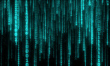 cyberspace with digital falling lines, binary hanging chain, abstract background with blue digital lines - 101714716