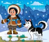 Inuit girl with Husky dog