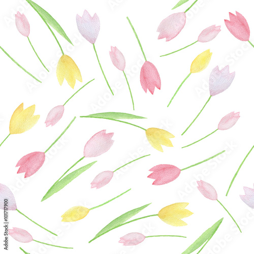 Cotton fabric Watercolor seamless pattern.
