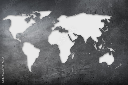 Zdjęcia na płótnie, fototapety na wymiar, obrazy na ścianę : mappa mondiale su lavagna