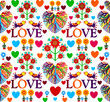 Bright floral romantic seamless pattern. Birds in love with hearts. Vector illustration, EPS 10.