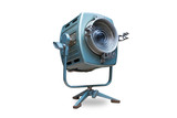 Studio spotlight lighting equipment with stand. Isolated on white background, clipping path included. Electrical source of constant light, halogen bulb.