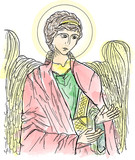 Byzantine icon style drawing of the Angel, colored with abstract watercolor.