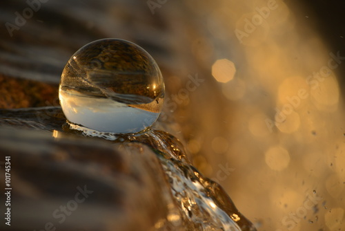 Fototapeta Crystal ball, Jersey, U.K. Abstract image of a sphere in nature.