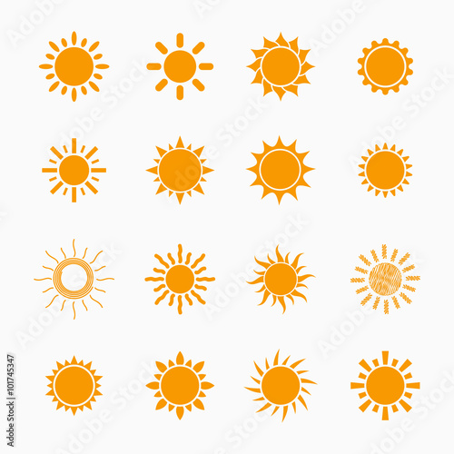 Orange Sun Symbols Set Vector Design Elements Buy Photos Ap
