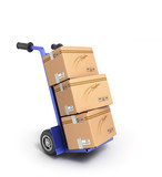 concept of fast delivery, the box on the two-wheeled trolley