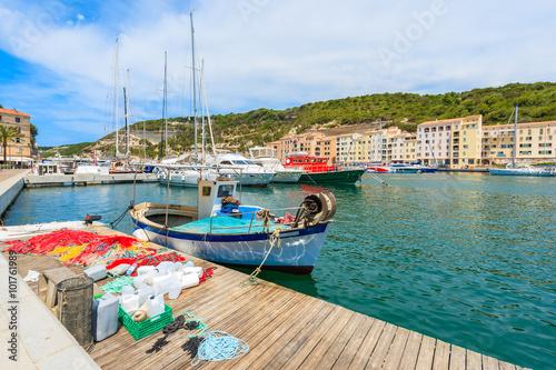 Aluminium Fishing boat in Bonifacio port on sunny summer day, Corsica island, France