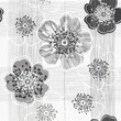 Monochrome seamless pattern of abstract flowers. Hand-drawn floral background.