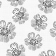 Monochrome seamless pattern of abstract flowers. Hand-drawnfloral background.